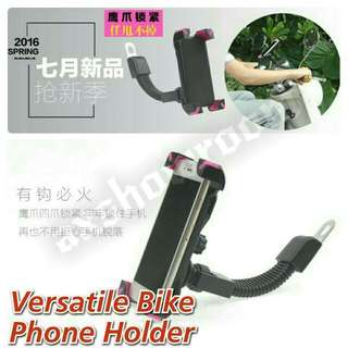 Motorcycle Secure Grip Flexi Arm Flexible Phone Holder. RearView Mirror Phone Mount With Secure Screw To Hold Phone In Place