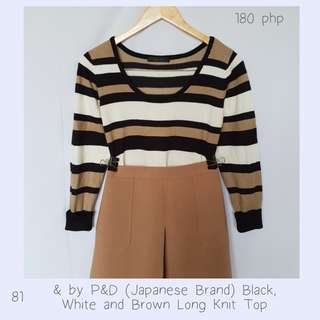 & by P&D (Japanese Brand) Black, White and Brown Long Knit Top