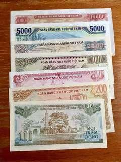 越南紙幣一套 100-5000呢6款面額已經沒有再發行