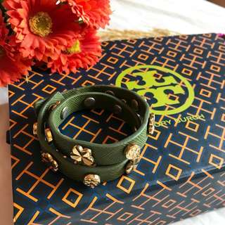 "Authentic Tory Burch Green Double Wrap Logo Stud Bracelet Excellent Condition with proof of authenticity ""MADE IN USA"""