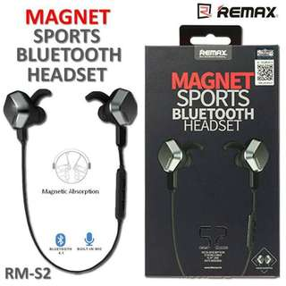 REMAX S2 MAGNET SPORTS BUILT IN MIC & BLUETOOTH HEADSET EARPHONES