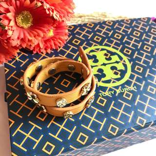 "Authentic Tory Burch Mustard Yellow Double Wrap Logo Stud Bracelet Excellent Condition with proof of authenticity ""MADE IN USA""  market price now Php 6,400  pre loved"