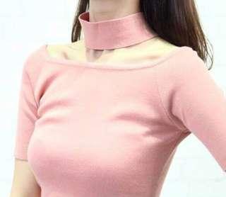 Pink Choker Ribbed Knit Top
