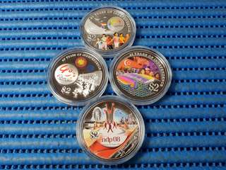 2005, 2006, 2007, 2008 Singapore 40, 41, 42 & 43 Years of Independence $2 Silver Proof Coin ( Lot of 4 Pieces )