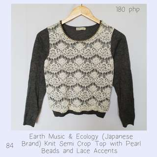 Earth Music & Ecology (Japanese Brand) Knit Semi Crop Top with Pearl Beads and Lace Accents