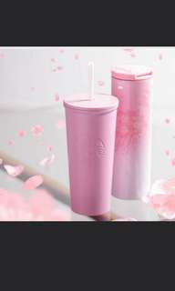 🚚 Starbucks light pink tumbler with straw sakura series