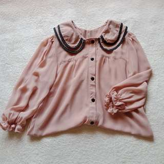 Korean Nude Brown Collared Button Down Chiffon Top