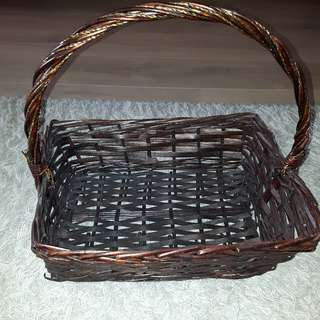 Dark Brown Long Handle Square Rattan Baskets