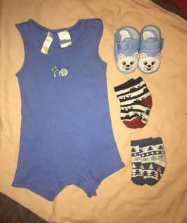 Baby boy onesies and shoes and socks (bundle)