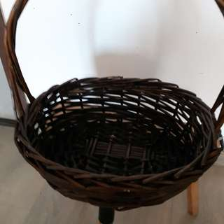 Dark Chocolate Long Handle Oval Shape Rattan Basket