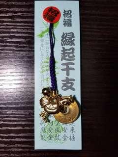 日本 金雞錢幣招福繩japan