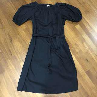 Black Off-Shoulder Dress with Detachable Sash