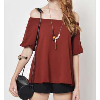 Off-Shoulder Top in Wine (Love & Bravery)