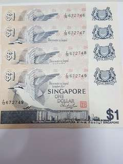 Bird series one dollar banknote ($1)