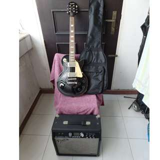 Used working condiion Epiphone les paul standard black electric guitar with Fender G-DEC 30 guitar amp