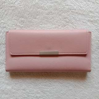 Blush Pink Bi Fold Leather Multi Compartment Wallet