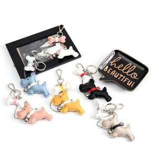 🚚 精緻皮革狗狗×狗骨頭鍊條吊飾鑰匙圈包包掛件-米杏×白灰