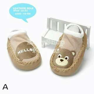 Leather Sole Baby Shoe - Socks - A