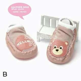 Leather Sole Baby Shoe - Socks - B
