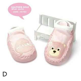 Leather Sole Baby Shoe - Socks - D