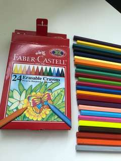 Faber Castell Erasable crayons 24 pieces - lightly used as shown in photo