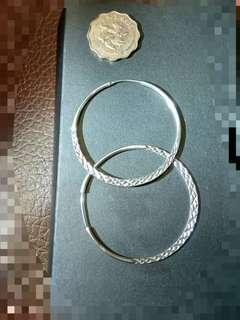 925銀刻花大圈耳環