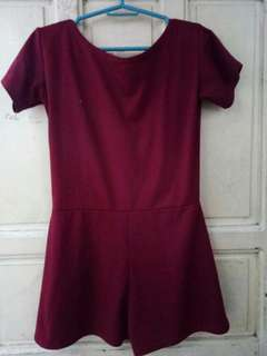 Maroon backless romper