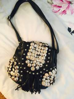 Black Sling Bag with Gold Studs & Buttons