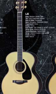 Almost new Yamaha Acoustic Guitar LJ6 for sale