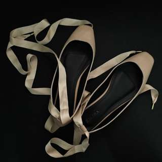 Lace Up Ballerinas (Nude)