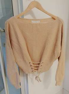 Beige knit sweater with corset detail size S M