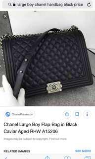 CHANEL LARGE BOY FLAP BAG IN BLACK CAVIAR