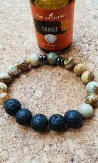 Gelang Diffuser aromatherapy batu lava hitam kombinasi batu jasper coklat muda