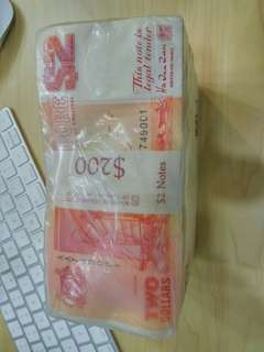 Singapore Ship Orange $2 Dollars 1000run 1brick first prefix AA UNC no fox original wrapping