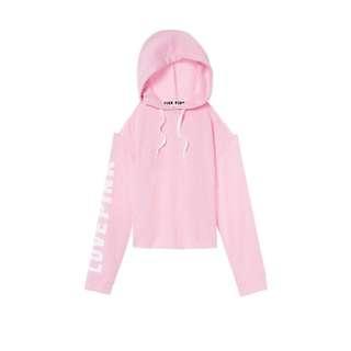 🚚 (現貨)Victoria's Secret PINK ✨露肩長袖大學帽T