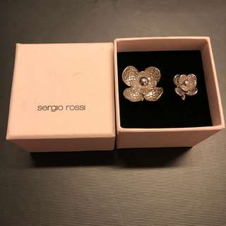 Sergio Rossi silver color flower rings