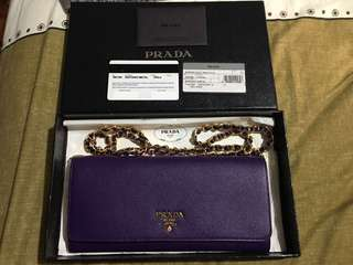Prada saffiano chain wallet