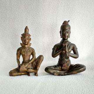 Vintage Thai / Siam Solid Brass or Bronze Musician Figurine Statues