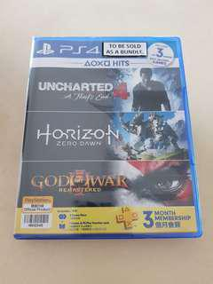 PS4 Game Bundle New - God of War, Horizon and Uncharted 4