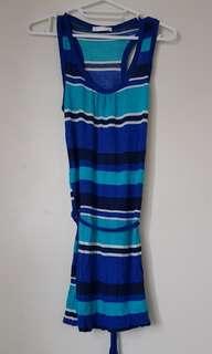 PROMOD Blue Striped Sleeveless