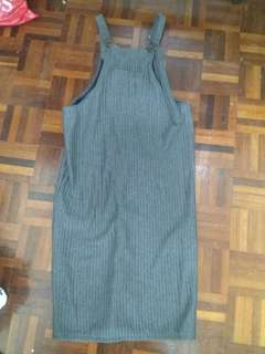 Long straight cut overall dress (grey)