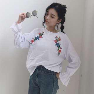 Korean Ulzzang Floral Embroidery Top