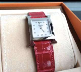 HERMES H Hour Diamonds Watch With Crocodile Leather Size MM 11 Diamonds  全新真品,Full Set,有單 *可到專門店/ 米蘭站驗證
