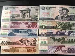 北韓000000様鈔一套10張