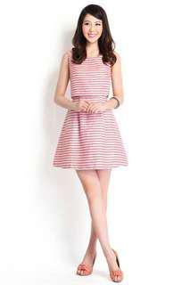 🚚 Lilypirates Rosy Outlook Dress In Coral Stripes