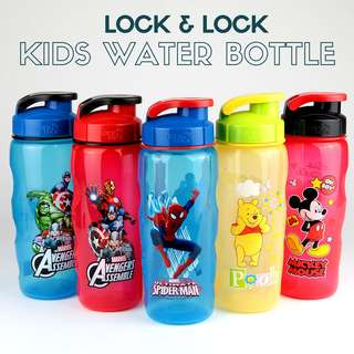 Kids Water Bottle Lock & Lock Avengers Spiderman Disney 500ml