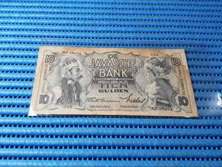 1938 Netherlands De Javanese Bank 10 Gulden Note AS 08204 Banknote Currency