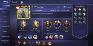 Akun Mobile Legends Mythic Android 57 Skin