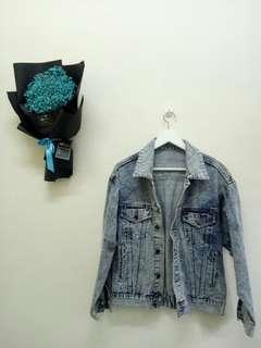 Acid wash jacket jeans