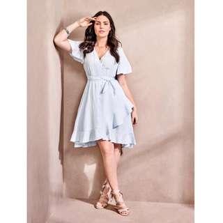 🚚 二手~TORRID女裝 直紋裹胸不規則荷葉綁帶洋裝/XL/荷葉袖 藍白條荷 葉裙 美國代購  【alin美妝雜貨】